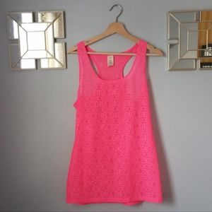 OP Hot Pink See Through Tank Top Size XL (15-17)